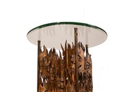"Curtis Jere ""fire"" Glass Top Lamp Table"