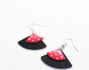 red earrings polka dot earrings rockabilly earrings colorful earrings gift for her music jewelry vinyl record earrings hypoallergenic hooks