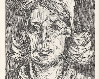 "van Gogh's Head of a Peasant Woman with Red Cap. Ink on Paper. 8.5"" x 11.75"""
