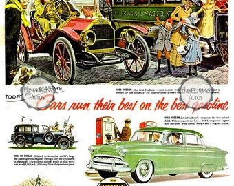 Vintage Hudson Ethyl 1953 Auto Poster print. Hudson, Forster, Mc Farlan. 1950s automobile advert. Instant Download.