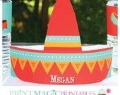 Fiesta Cinco de Mayo Sombrero Party Hat - Printable Party Hat - Instant Download - Sombrero Birthday Party Hat - Fiesta Birthday Party