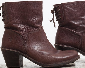 90s FRYE Boots, Brown Leather Ankle Boot, size 9 9.5, Slouchy Heeled Cowboy Cowgirl, Chestnut Taupe, Womens Designer Shoe, Round Toe