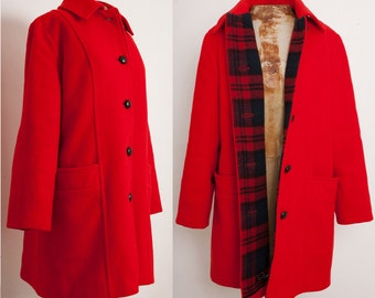 1960s Red Wool Coat by Penguin, Flannel Lined Peacoat Plaid RGB Princess Overcoat, size 12 Medium Large, 60s Mod Paddington