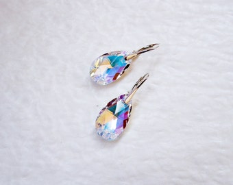 Swarovski crystal ab drop earrings Crystal dangle earrings Crystal drop earrings Rainbow crystal earrings Swarovski leverback earrings
