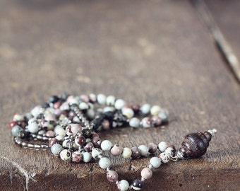 Beaded Lariat Necklace with Jasper and Smoky Quartz - Opera Length Long Brown Silk Knotted Necklace