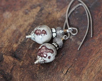 Jasper and Gemstone Earrings with Lepidocrocite - Natural Gray Stone Earrings in Gray & Brown