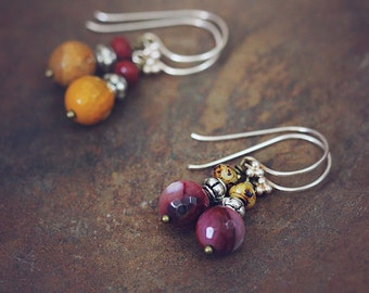 Sterling Silver Mookaite Earrings - Everyday Autumn Earrings - UK shop