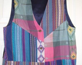 Vintage Vest Women's Size Large Patchwork Ivy Wear Brand