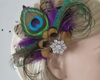 "Purple Brown Peacock Pheasant Feathers Fascinator Hair Clip ""Lyssa"" Bridal - 1 Day to Make - Bride Bridesmaids Woodland Wedding Party Ideas"