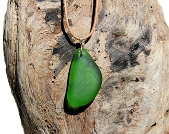 Hawaiian Emerald Green Beach Glass Wire Wrapped in 925 Sterling Silver on India Leather Necklace