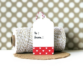 Washi Tape Tags (Set of 10) - Gift Tags, Heart Tags, Gift Wrapping, Gift Wrap, Packaging, Love, Wedding, Hearts