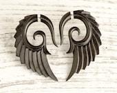 Fake Gauges Earrings Wooden Earrings Wings Black Angel Tribal Earrings - Gauges Black Wood FG002 DW G1