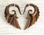 Fake Gauge Earrings Wooden Earrings Wings Angel Tribal Earrings - Gauges Wood -FG002 W G1