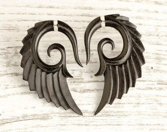 Fake Gauges Earrings Wooden Earrings Wings Black Angel Tribal Earrings - Gauges Black Wood FG002 DW G1