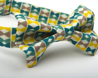 Little Bow Tie Print, green and yellow bow tie, men's  bow tie, boys bow tie, toddler bow tie, green and yellow tie,  bow tie print