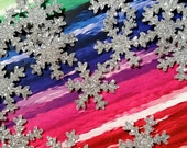 """Glittered Snowflakes, Tiny ~ Hand-Glittered Itty Bitty 5/8"""" Snowflake Confetti, Frozen Party, Wedding, Lots of Colors!"""