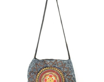 HMONG Batik Bag Cotton Strap With Embroidered Fabric  (BG4792-GDST)