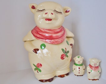Vintage Shawnee Smiley Pig Cookie Jar and Salt Pepper Set Clover 1930s Authentic