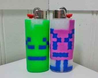 Aqua Teen Hunger Force Alien Perler Bead LIGHTER CASE- Ignignokt and Err - cartoon network - hama beads
