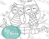 Owl Always Love You - digital stamp digistamp JPG PNG - owls Valentine love line art for crafting
