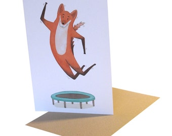 Trampolining Fox Card