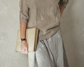 LINEN BLOUSE with gathered cuff