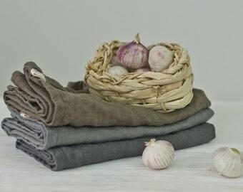 a set of 3 LINEN TEA TOWELS. frost grey / mushroom brown / grey
