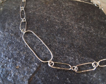 Sterling Silver Handmade Chain Necklace, Long Hammered Link Chain, Metalwork, Soldered Oval Links, Thick Handmade Silver Wires