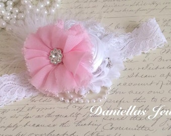 pink and white  Vintage Headband/Child Headband /baby Girl Headband /Photo prop Headband