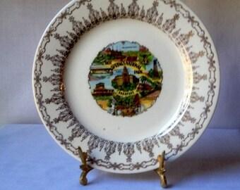 Vintage Hot Springs National Park Arkansas Souvenir Plate