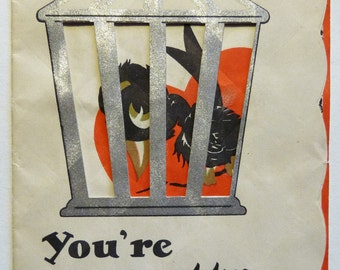 You're Pretty Cagey, circa 1930s Vintage Valentine Card, Valentine's Greeting Card, Something to Crow About
