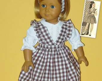 1940s Style Dress -  Jumper, Blouse and Headband fits American Girl Doll Molly