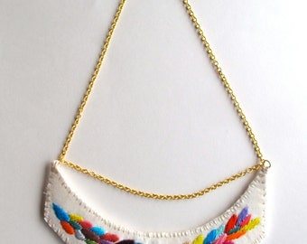 Embroidered necklace multicolored laurel leaf design on a gold chain with toggle Spring and Summer fashion MADE TO ORDER