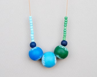 Blue And Green Polymer Clay Necklace, Carved Polymer Necklace, Handmade Necklace