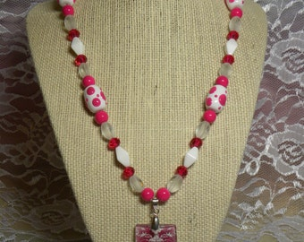Pendant Necklace: Hot Pink, White, and Clear Damask Pendant on a Matching Necklace