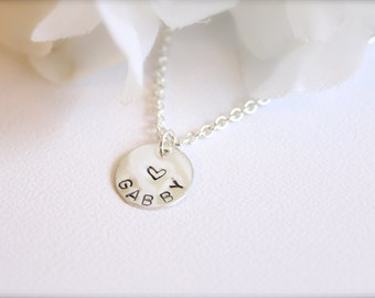 Girls Sterling Silver Personalized Necklace, Little Girls Jewelry Gift, Birthday, Flower Girl Gift, Present for Child