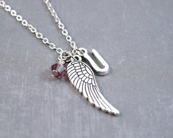 Silver Wing Necklace - Angel Wing Necklace - Feather Necklace - Personalized Necklace - Silver Feather Jewelry - Nature Necklace