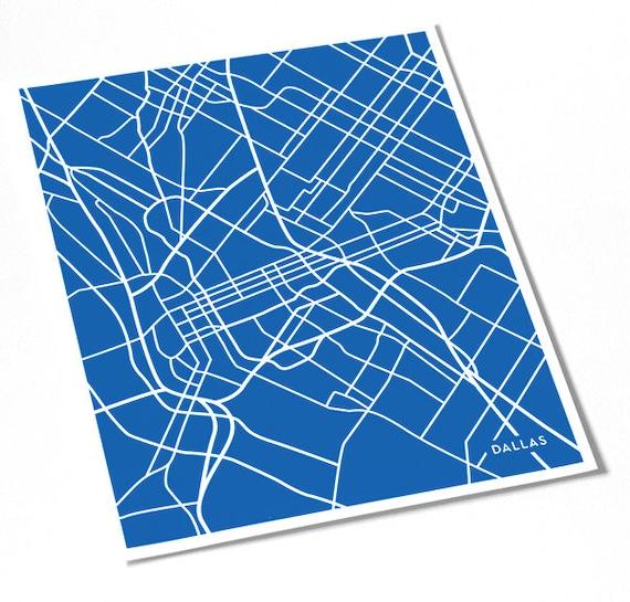 Dallas City Print Line Art / Texas Map Art Dallas Cowboys Poster Wall Art / 8x10 Digital Print / Choose your color