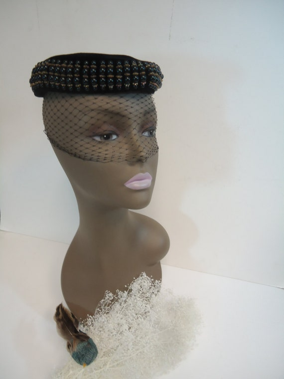 items similar to 1950 chic hat beaded pillbox hat w