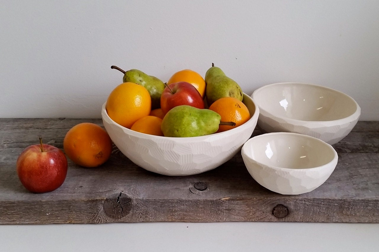 White Porcelain Nesting Bowls, Set of 3, Small Serving, Medium Serving and Large Mixing Size, Choose your Texture