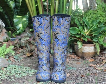 Womens Boho Boots Moccasin Style In Blue Indonesian Batik, Vegan 2 Patterns - Viva