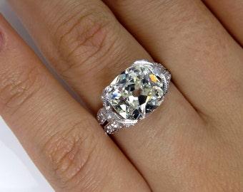 Reserved..Exceptional  Belle Epoque, Edwardian 3.41ctw Old Mine Cushion  VINTAGE ANTIQUE Diamond Wedding ENGAGEMENT Ring in Platinum