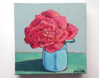 Original modern Flower painting still life floral wall art -  A Flower for Jo