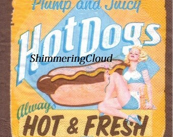 Decoupage Napkins, blue, brown, orange, pin up girl, hot, dog, writings, retro, tin sign, Decoupage, Mixed Media, Scrapbooking, kitchen, 4pc