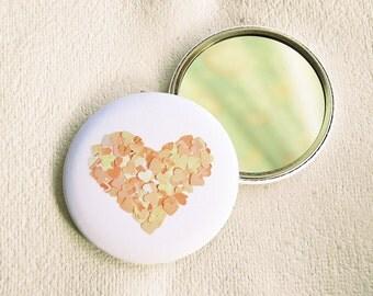 Peach heart round pocket mirror