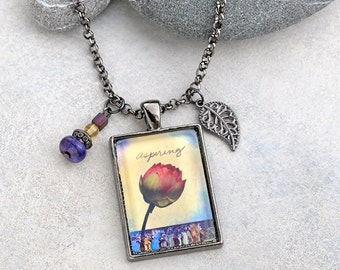 Lotus Pendant Necklace with Leaf Charm Inspirational Jewelry - FREE Shipping