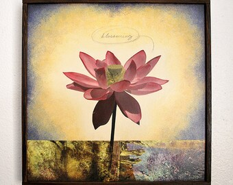 Original Lotus Flower Artwork Framed - FREE SHIPPING