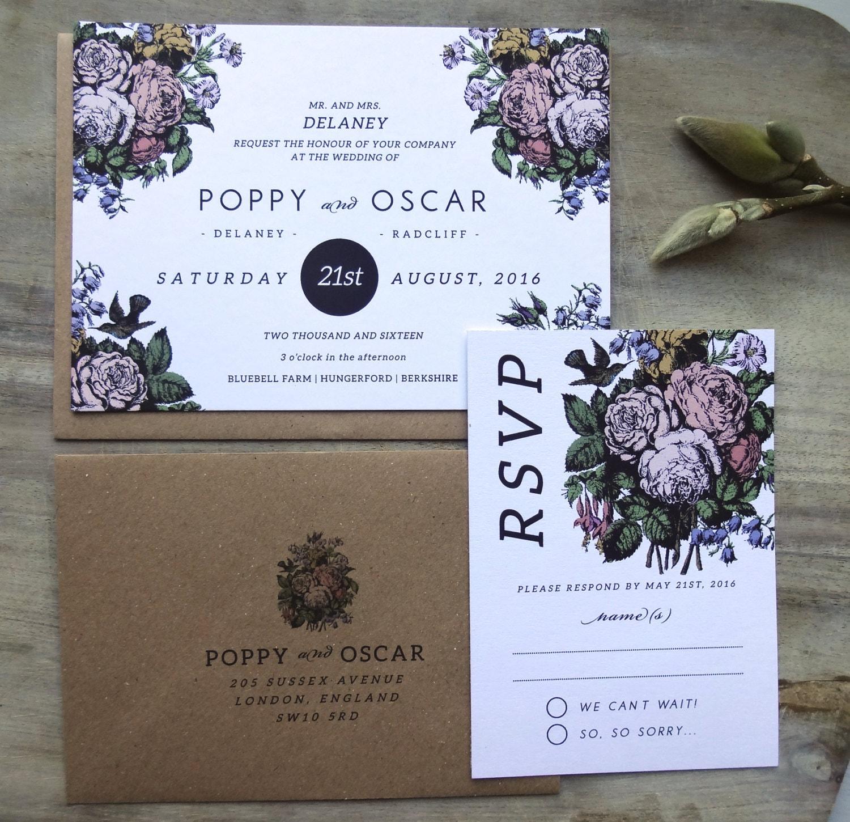 Custom Rustic Wedding Invitations: RUSTIC WEDDING INVITATION Suite Unique Custom Designed