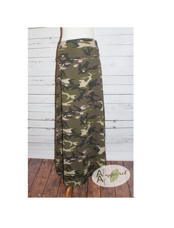 new camo maxi skirt jersey knit womens and plus by