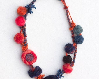Red blue eco friendly necklace, felt statement jewelry, OOAK